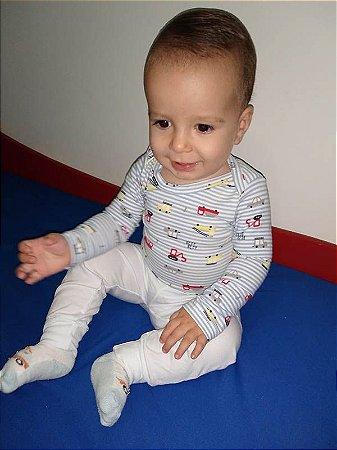 Body Manga Longa Azul Bebê Listrado Carrinhos