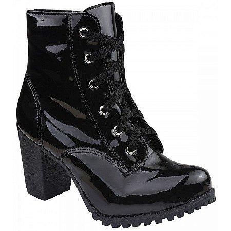 Bota Cuturno Luxo Shoes Preto Verniz