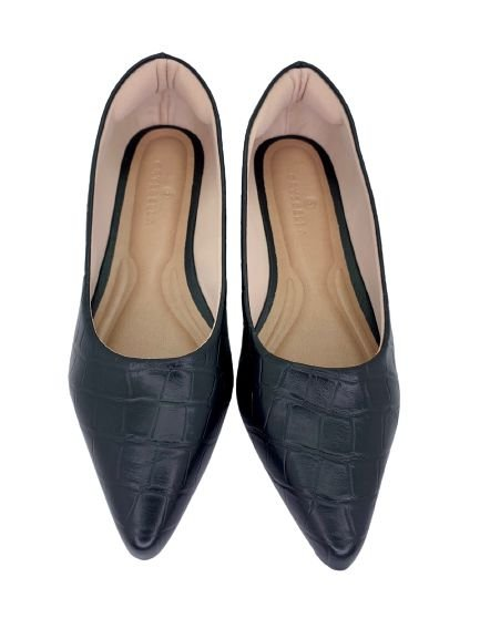 POINTED CLASSIC - CROCO BLACK