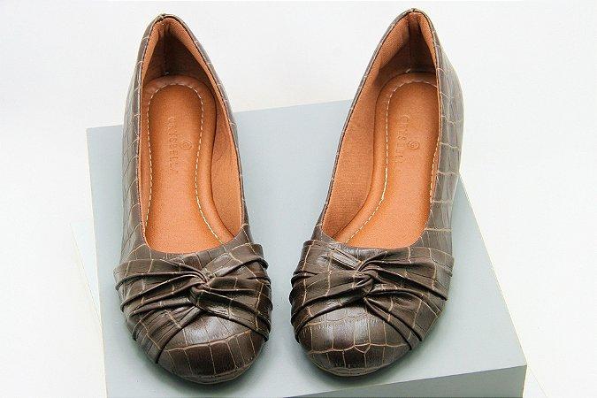 Ballerina Laço Invertido - Brown Crocodile