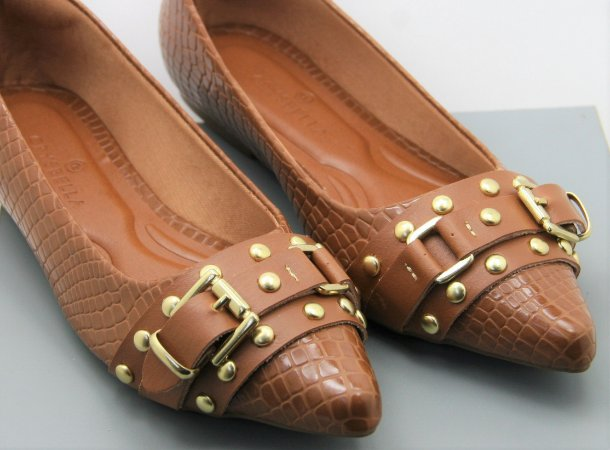 POINTED BUCKLE - SNAKE SKIN CARAMELO