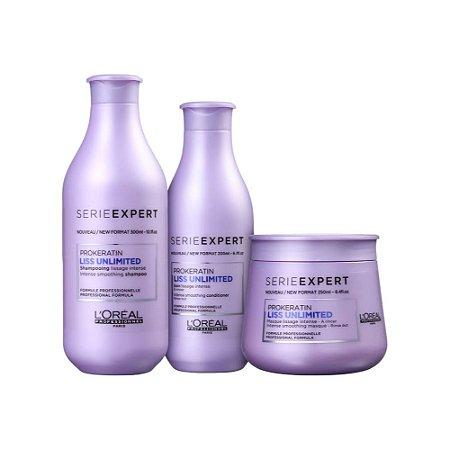 Kit Shampoo + Condicionador + Máscara -  L'Oréal Professionnel Expert Liss Unlimited