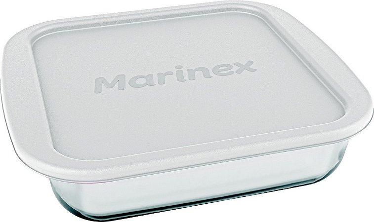 Assadeira Prática Quadrada 1,1 Litros com Tampa - Marinex - Nadir Figueiredo