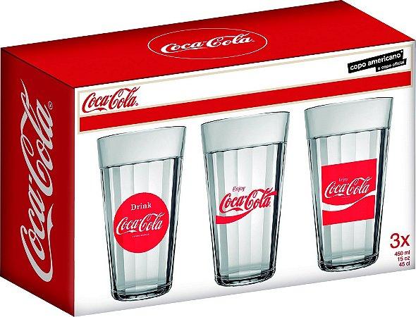 Jogo de Copo Americano Coca-Cola 450ml Com 3 Peças - Nadir Figueiredo