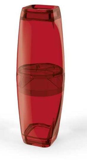 Porta Escova com Tampa Premium Vermelho Transparente - UZ