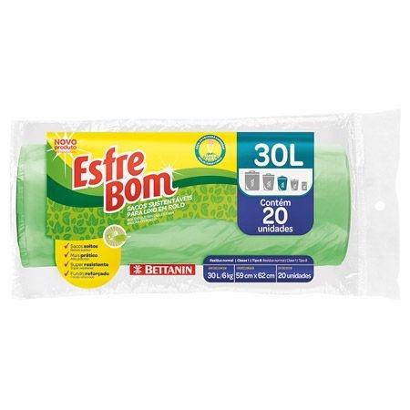 Saco para Lixo Esfrebom Rolo - Sustentável - 30 Litros - Pacote C/ 10 Rolos C/ 20 unidades - Bettanin