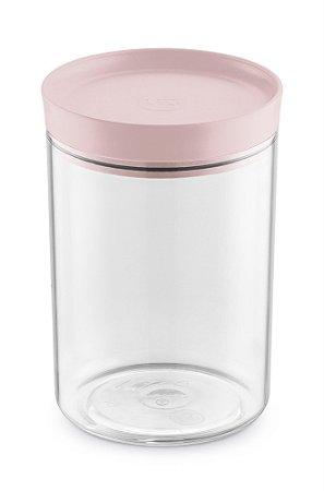 Porta Mantimento 1,4 Litros Transparente com Tampa Rosa - UZ