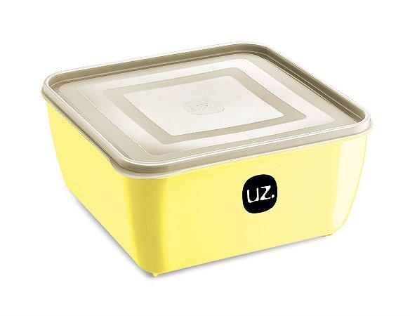 Pote Multiuso Premium Quadrado 1,5 Litros Amarelo Claro Sólido - UZ