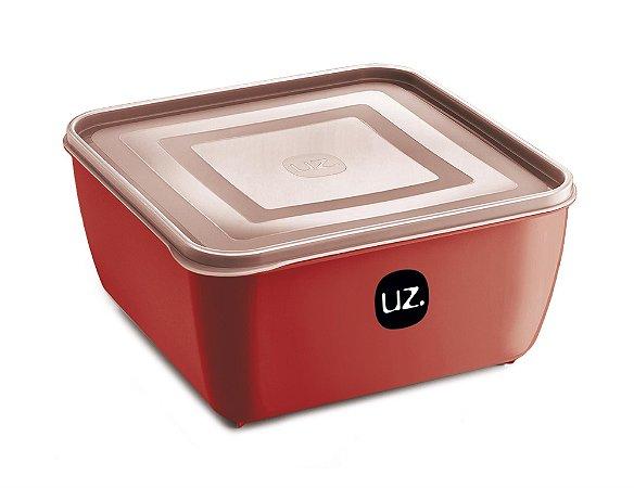 Pote Multiuso Premium Quadrado 1,5 Litros Vermelho Sólido - UZ
