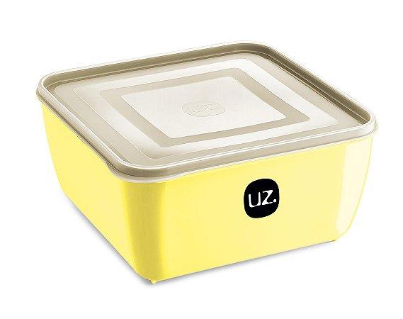 Pote Multiuso Premium Quadrado 2,5 Litros Amarelo Claro Sólido - UZ
