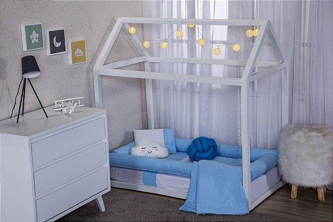 Jogo Lençol para Mini Cama Montessoriana - Nervura Azul