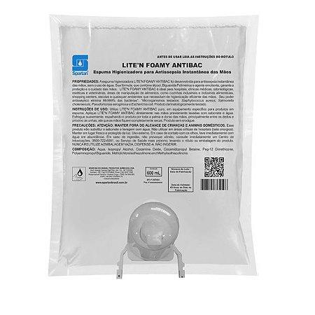 Lite'n Foamy Antibac 600 Ml Com Válvula Espuma Antisséptica Álcool e Biguanida - Spartan