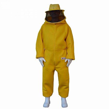Macacão Para Apicultura De Malha Livre 100% Antiferroadas Com Mascara Destacável Amarelo