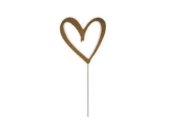 Vela coração dourado com glitter - 01 unidade