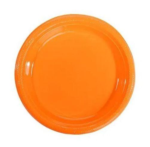 Prato de Plástico Sobremesa Laranja 18 cm c/ 10 unidades