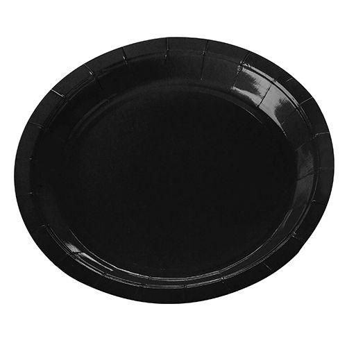 Prato de Papel Sobremesa Preto 18 cm c/ 10 unidades