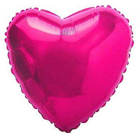 Balão Metalizado Coração 18 Polegadas Liso Rosa Pink