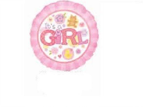 BALAO  METALIZADO 9P - ITS A GIRL ROSA