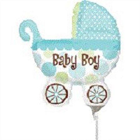 Balão Metalizado 14P - Carrinho De Bebê Verde