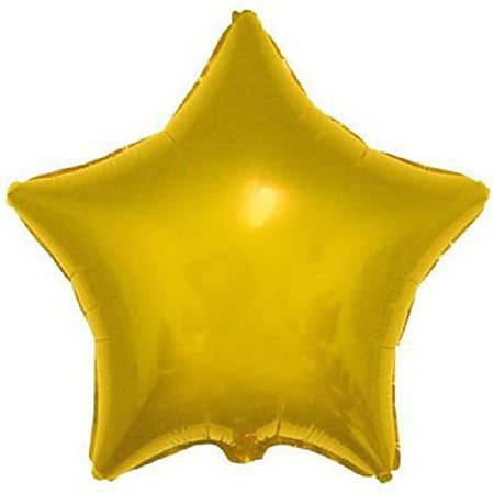 Balão Metalizado Estrela 18 Polegadas Lisa Dourada