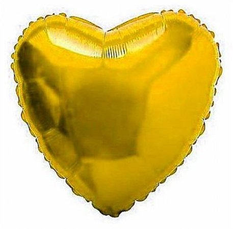 Balão Metalizado Coração 18 Polegadas Liso  Dourado