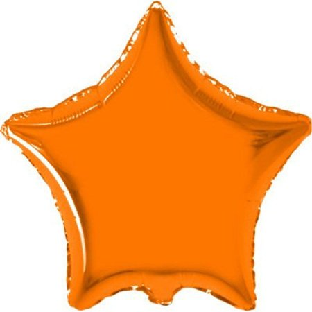 Balão Metalizado Estrela 18 Polegadas Liso Laranja