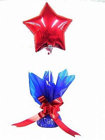Centro de Mesa Personalizado com Balão Liso Metalizado Estrela 9P