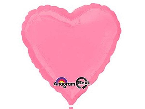 Balão Metalizado Coração 18 Polegadas Liso Rosa