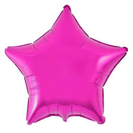 Balão Metalizado 18P - Estrela Rosa