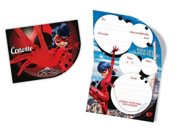 Convite- Miraculous Ladybug c/ 8 unidades