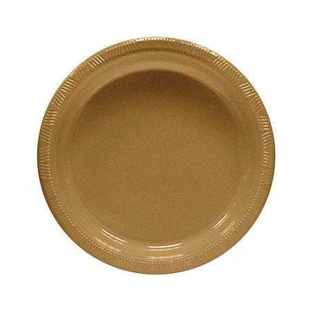 Prato de Plástico Refeição Dourado c/ 10 unidades