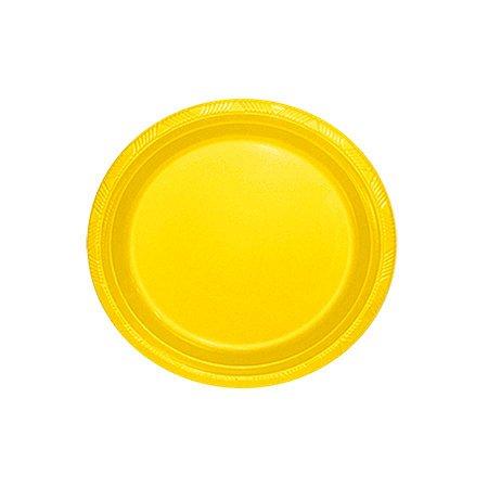 Pratos de Plástico Refeição Amarelo c/ 10 unidades
