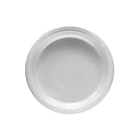 Prato de Plástico Sobremesa Branco c/ 10 unidades