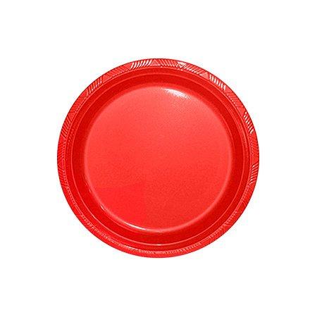 Prato de Plástico Refeição Vermelho c/ 10 unidades
