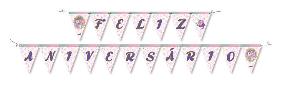 Faixa Feliz Aniversário - Unicórnio c/ 1 unidade