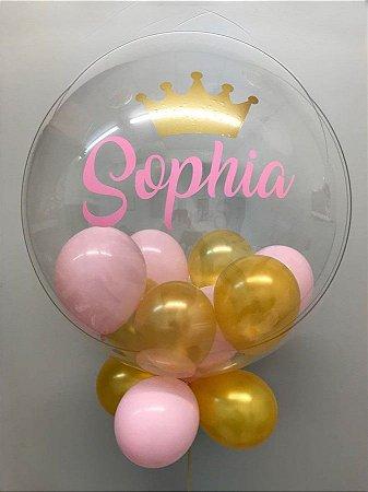 Balão Bubble Decorado e Personalizado c/ 2 palavras 24 Polegadas