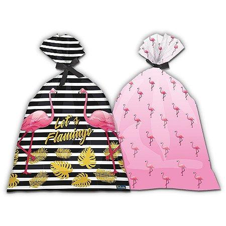 Sacola Plástica - Flamingo c/ 8 unidades
