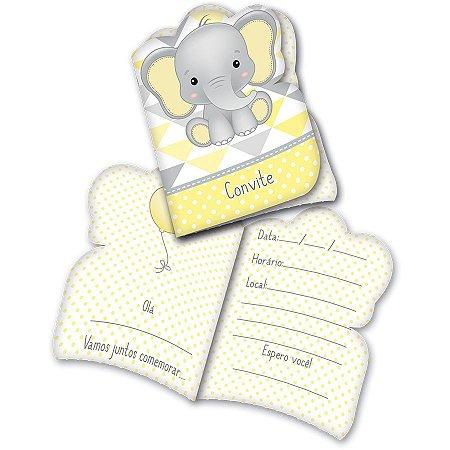 Convite - Elefantinho Amarelo c/ 8 unidades