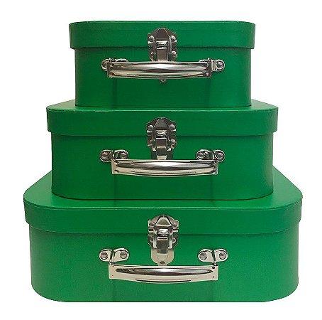 Trio De Maletas Decorativas Verde Bandeira