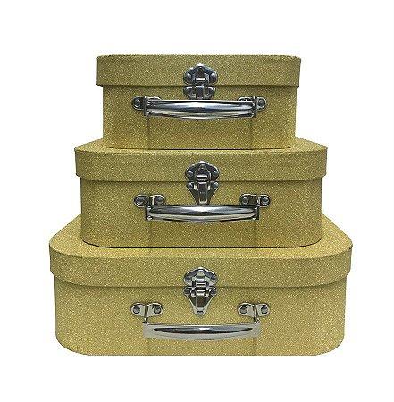 Trio De Maletas Decorativas Dourada Brilhante