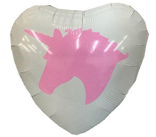 """Balão Metalizado de Coração 18"""" Unicórnio Personalizado"""