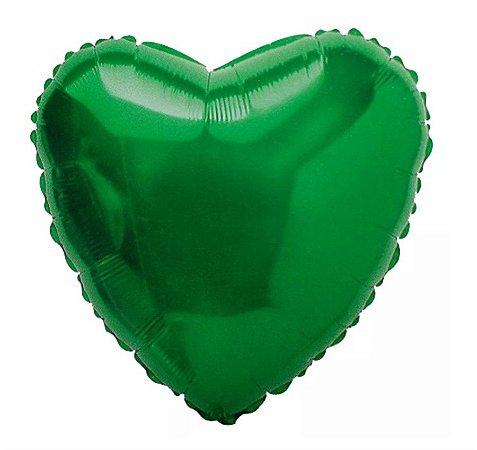 Balão Metalizado Coração 18 Polegadas Liso Verde