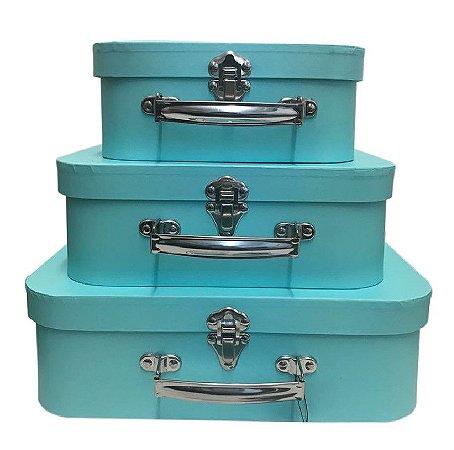 Trio De Maletas Decorativas Azul Tiffany