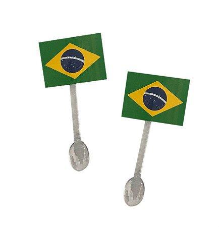 Colher de Brigadeiro Bandeira do Brasil c/ 10 unidades