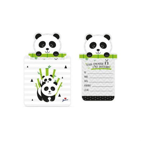 Convite - Panda c/ 8 unidades