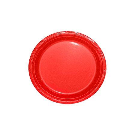 Prato de Plástico Sobremesa 18 cm Vermelho c/ 10 unidades