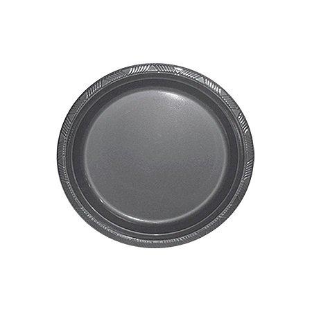 Prato de Plástico Refeição Prata c/ 10 unidades