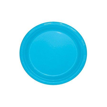 Prato de Plástico Refeição Azul Claro c/ 10 unidades