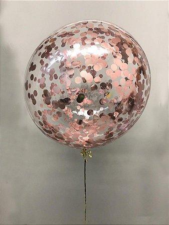 Balão Bubble de Silicone com Confetes em Rose 24 Polegadas