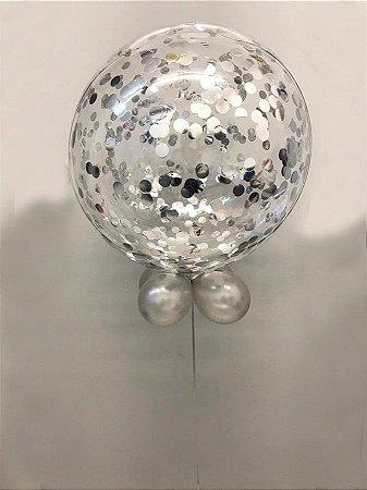 Balão Bubble de Silicone com Confetes em Prata 24 Polegadas